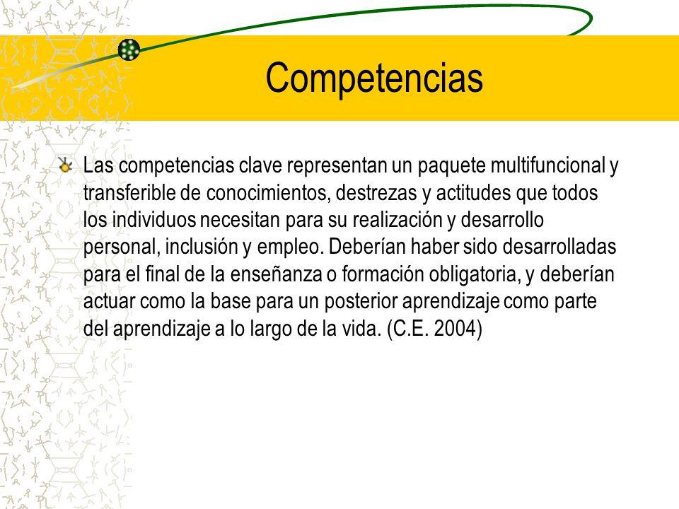Competencias Las competencias clave representan un paquete multifuncional y transferible de conocimientos, destrezas y actitudes que todos los individ