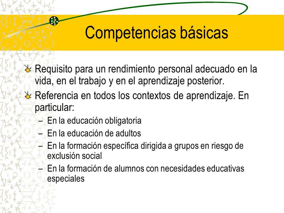 Requisito para un rendimiento personal adecuado en la vida, en el trabajo y en el aprendizaje posterior. Referencia en todos los contextos de aprendiz
