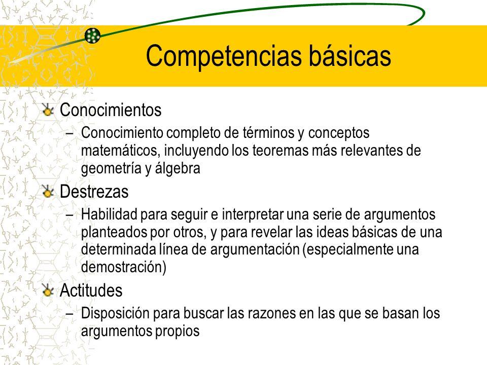 Competencias básicas Conocimientos –Conocimiento completo de términos y conceptos matemáticos, incluyendo los teoremas más relevantes de geometría y á