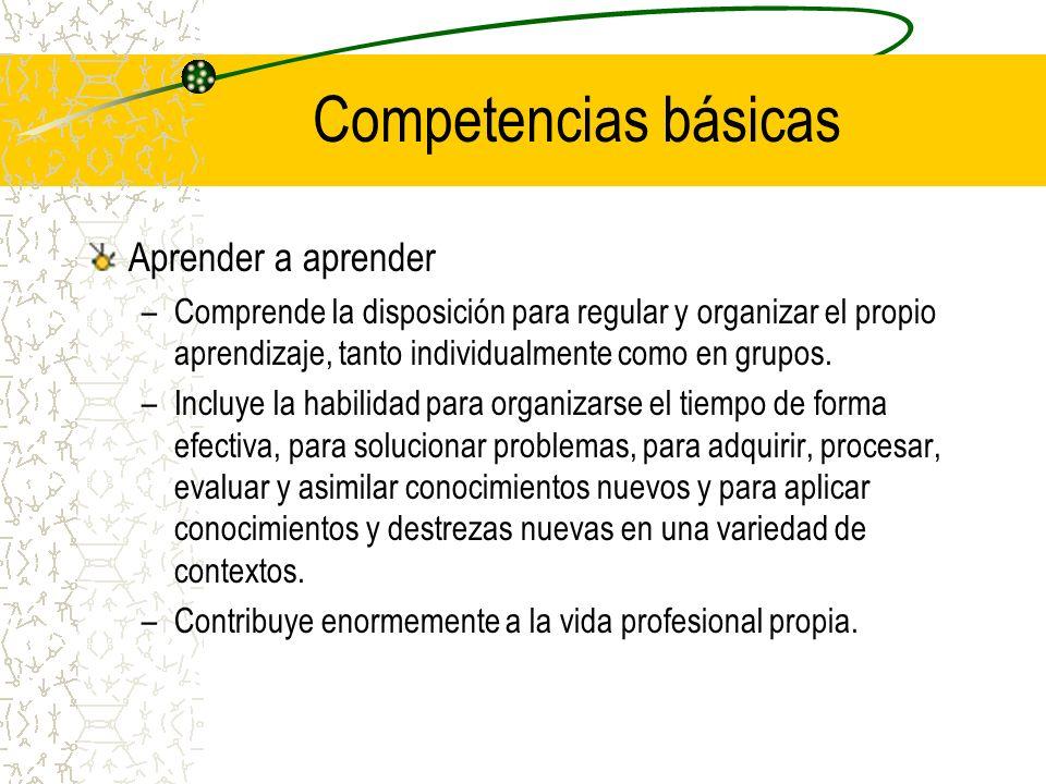 Competencias básicas Aprender a aprender –Comprende la disposición para regular y organizar el propio aprendizaje, tanto individualmente como en grupo