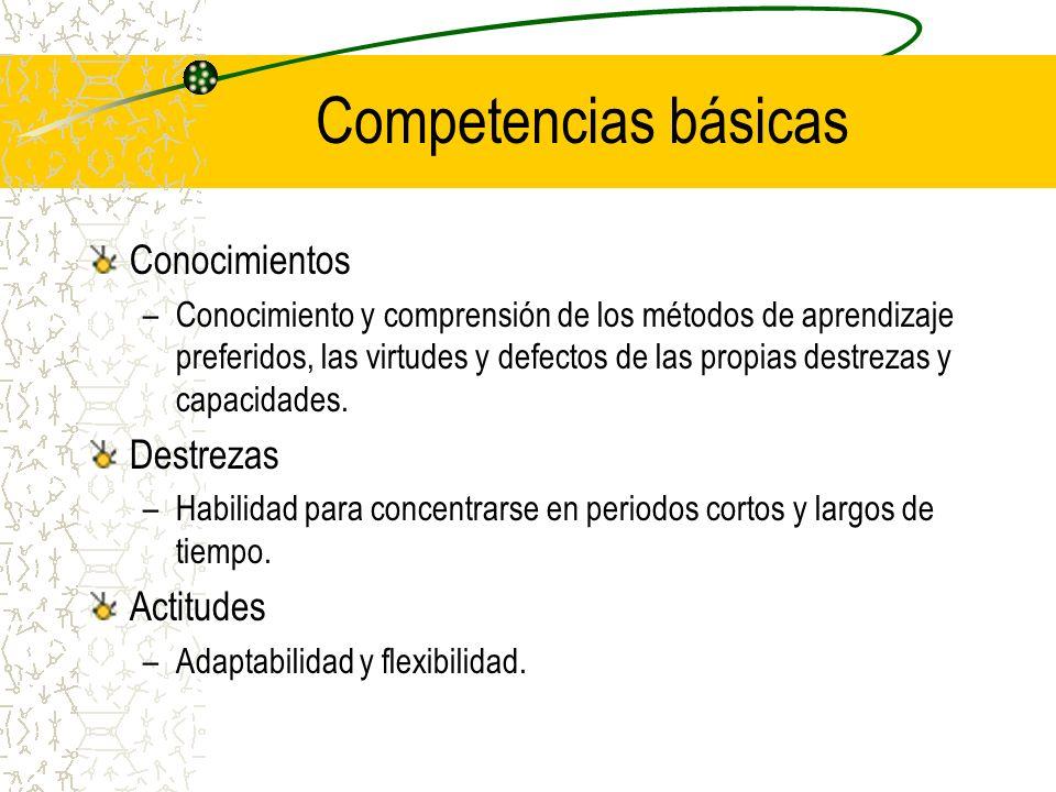 Competencias básicas Conocimientos –Conocimiento y comprensión de los métodos de aprendizaje preferidos, las virtudes y defectos de las propias destre