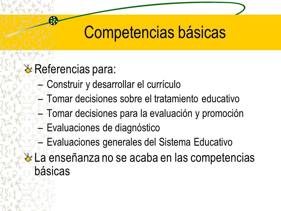 Referencias para: –Construir y desarrollar el currículo –Tomar decisiones sobre el tratamiento educativo –Tomar decisiones para la evaluación y promoc