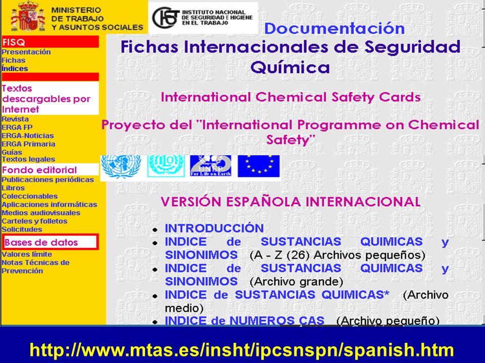 Fichas Internacionales de Seguridad Química Guías de Salud y Seguridad de Sustancias Químicas Criterios de Salud Ambiental de Sustancias Químicas