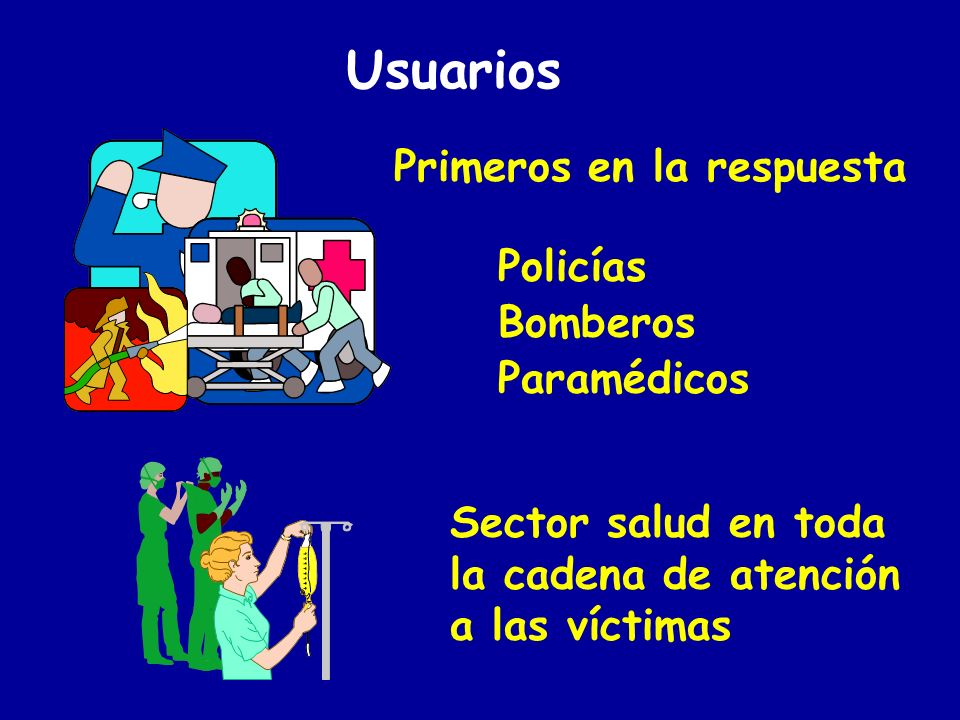 Usuarios Personal involucrado en la organización y planeación de la respuesta Autoridades públicas: Salud Ambiente Trabajo