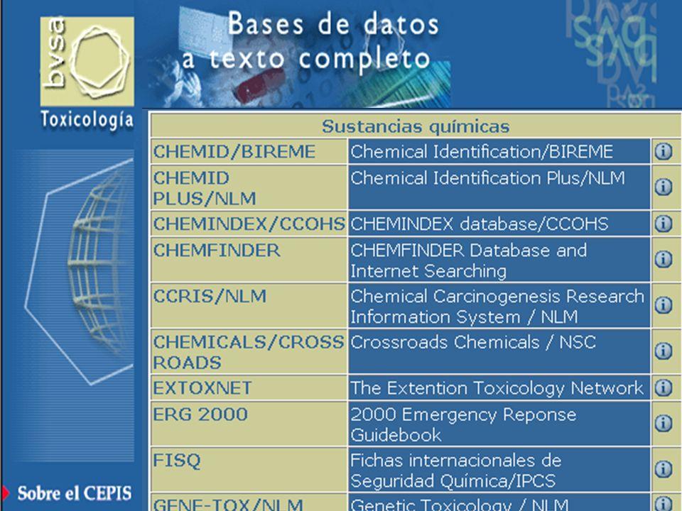 ò Acerca de BVSA-Toxicología ò Búsqueda bibliográfica ò Sustancias químicas ò Textos completos ò Revistas ò Directorios ò Cursos - Eventos ò Toxicolog