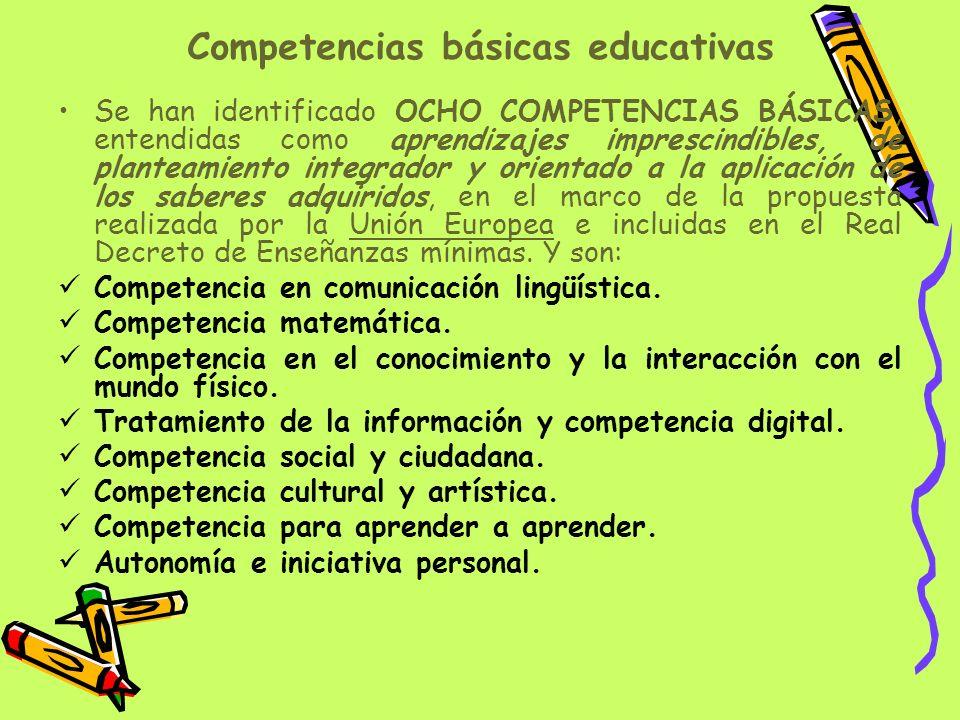 Competencias básicas educativas Se han identificado OCHO COMPETENCIAS BÁSICAS, entendidas como aprendizajes imprescindibles, de planteamiento integrad