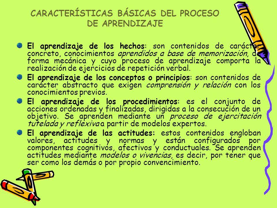 CARACTERÍSTICAS BÁSICAS DEL PROCESO DE APRENDIZAJE El aprendizaje de los hechos: son contenidos de carácter concreto, conocimientos aprendidos a base