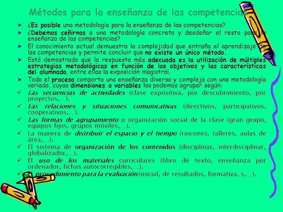 Métodos para la enseñanza de las competencias ¿Es posible una metodología para la enseñanza de las competencias? ¿Debemos ceñirnos a una metodología c