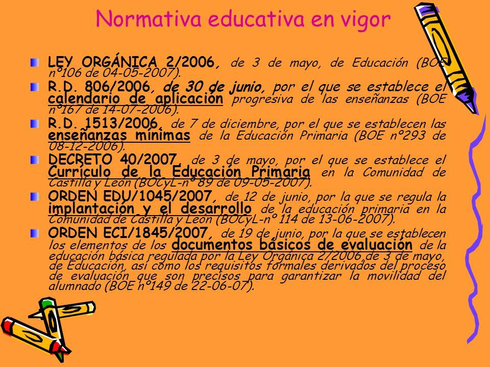 Normativa educativa en vigor LEY ORGÁNICA 2/2006, de 3 de mayo, de Educación (BOE nº106 de 04-05-2007). R.D. 806/2006, de 30 de junio, por el que se e
