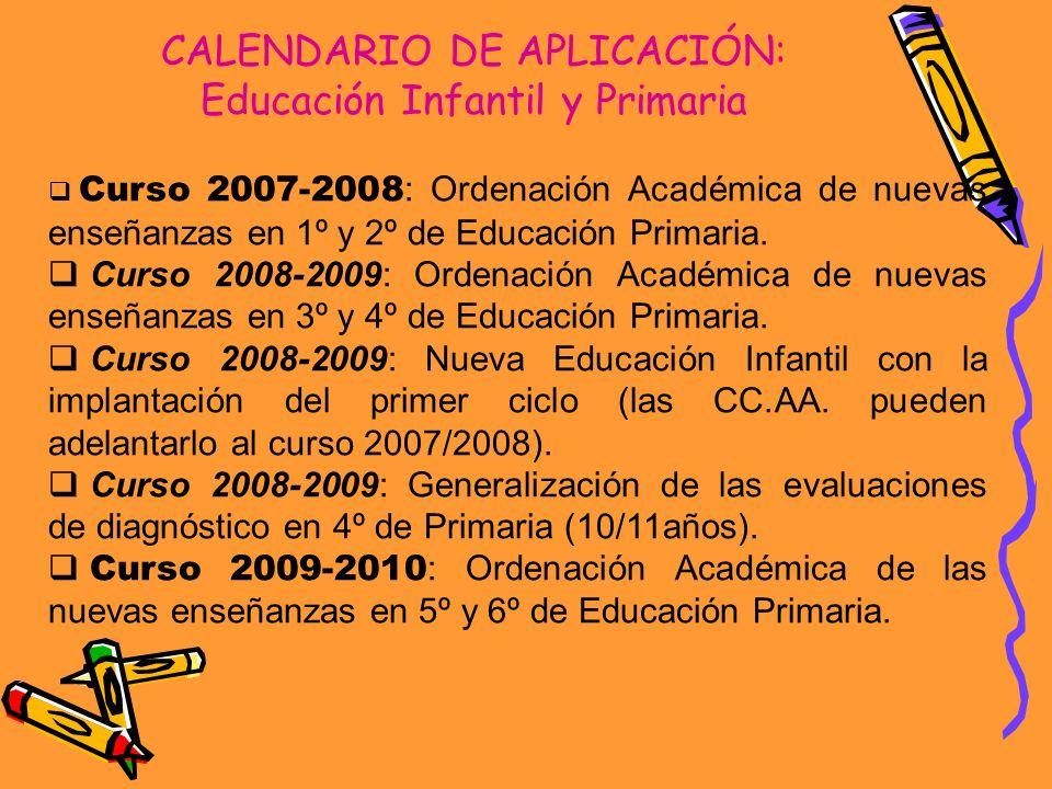 CALENDARIO DE APLICACIÓN: Educación Infantil y Primaria Curso 2007-2008 : Ordenación Académica de nuevas enseñanzas en 1º y 2º de Educación Primaria.