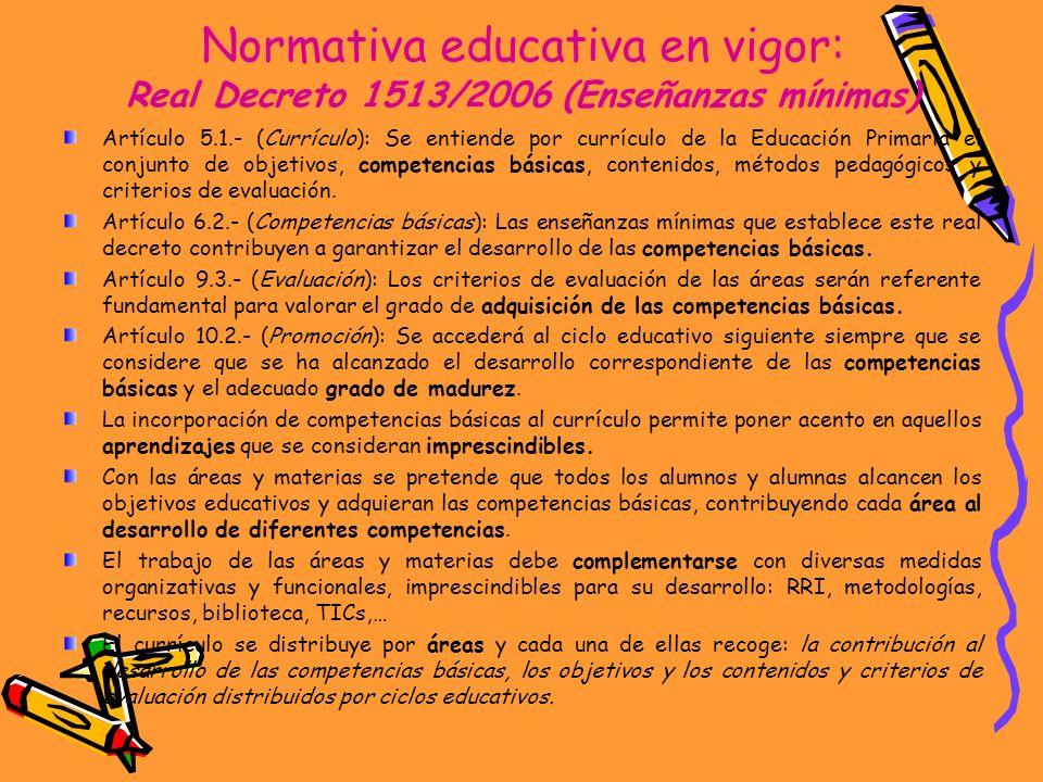 Normativa educativa en vigor: Real Decreto 1513/2006 (Enseñanzas mínimas) Artículo 5.1.- (Currículo): Se entiende por currículo de la Educación Primar