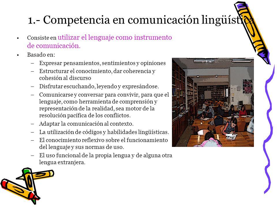 1.- Competencia en comunicación lingüística Consiste en utilizar el lenguaje como instrumento de comunicación. Basado en: –Expresar pensamientos, sent