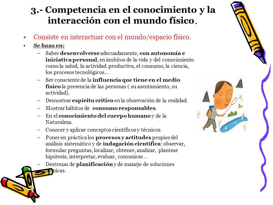 3.- Competencia en el conocimiento y la interacción con el mundo físico. Consiste en interactuar con el mundo/espacio físico. Se basa en: –Saber desen
