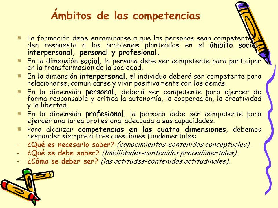 Ámbitos de las competencias La formación debe encaminarse a que las personas sean competentes y den respuesta a los problemas planteados en el ámbito