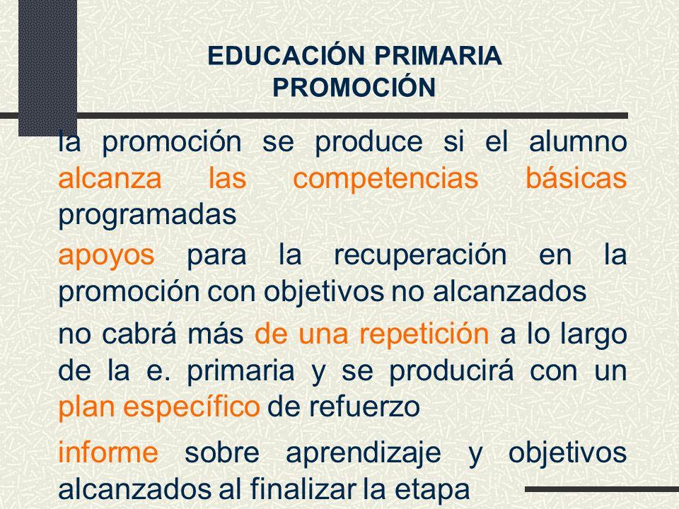 la promoción se produce si el alumno alcanza las competencias básicas programadas no cabrá más de una repetición a lo largo de la e.