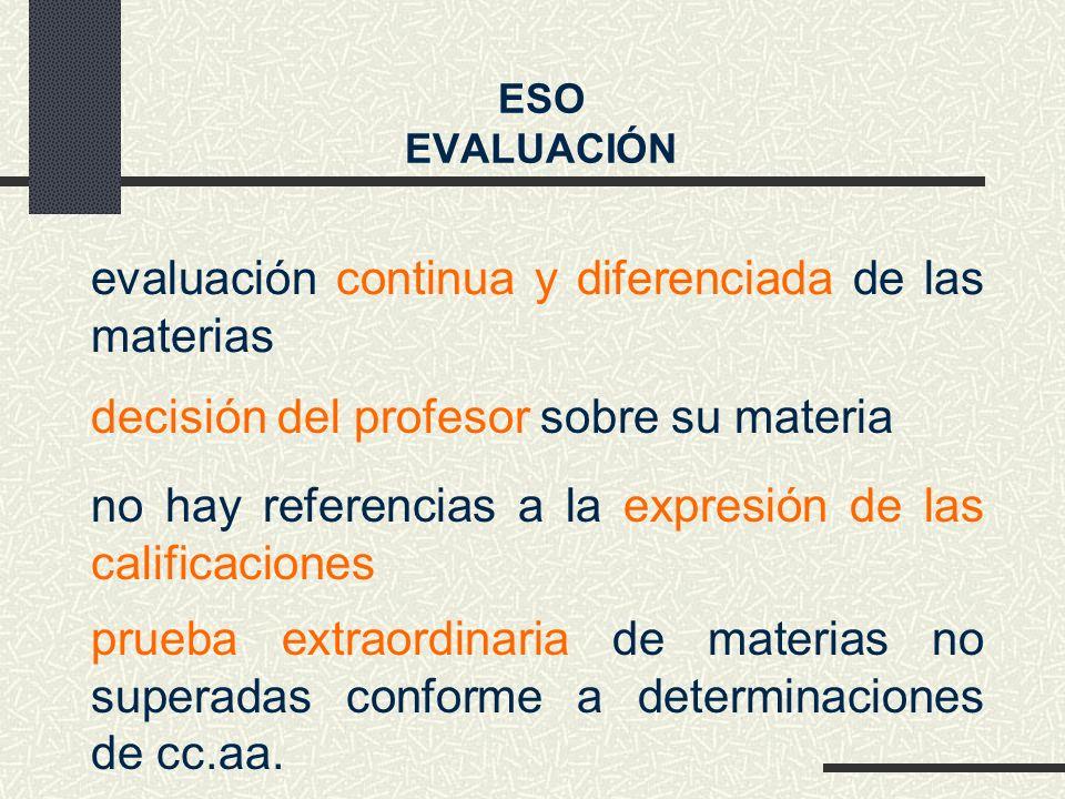 evaluación continua y diferenciada de las materias no hay referencias a la expresión de las calificaciones ESO EVALUACIÓN decisión del profesor sobre su materia prueba extraordinaria de materias no superadas conforme a determinaciones de cc.aa.