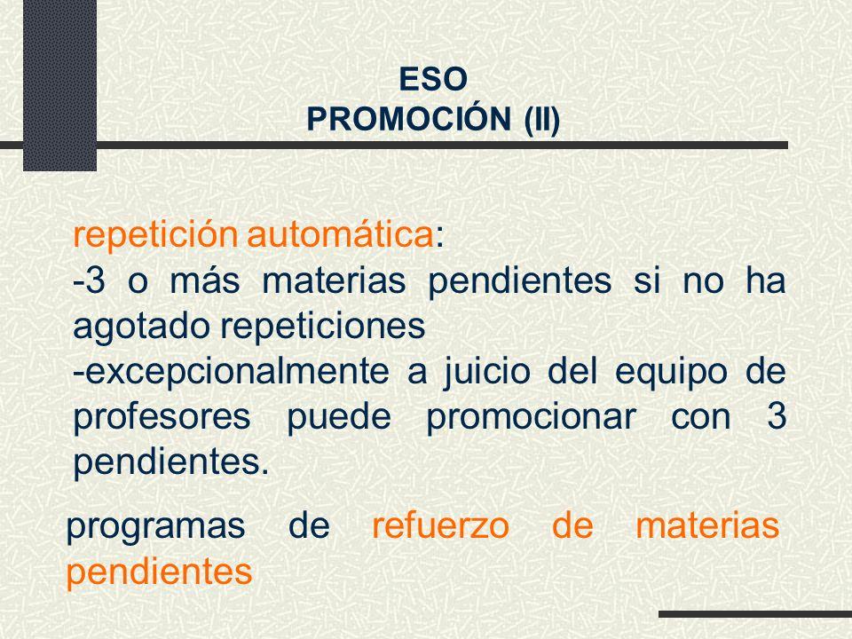repetición automática: -3 o más materias pendientes si no ha agotado repeticiones -excepcionalmente a juicio del equipo de profesores puede promocionar con 3 pendientes.