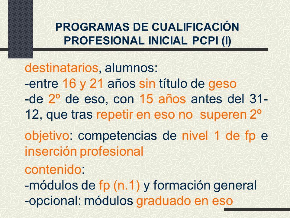 destinatarios, alumnos: -entre 16 y 21 años sin título de geso -de 2º de eso, con 15 años antes del 31- 12, que tras repetir en eso no superen 2º objetivo: competencias de nivel 1 de fp e inserción profesional PROGRAMAS DE CUALIFICACIÓN PROFESIONAL INICIAL PCPI (I) contenido: -módulos de fp (n.1) y formación general -opcional: módulos graduado en eso