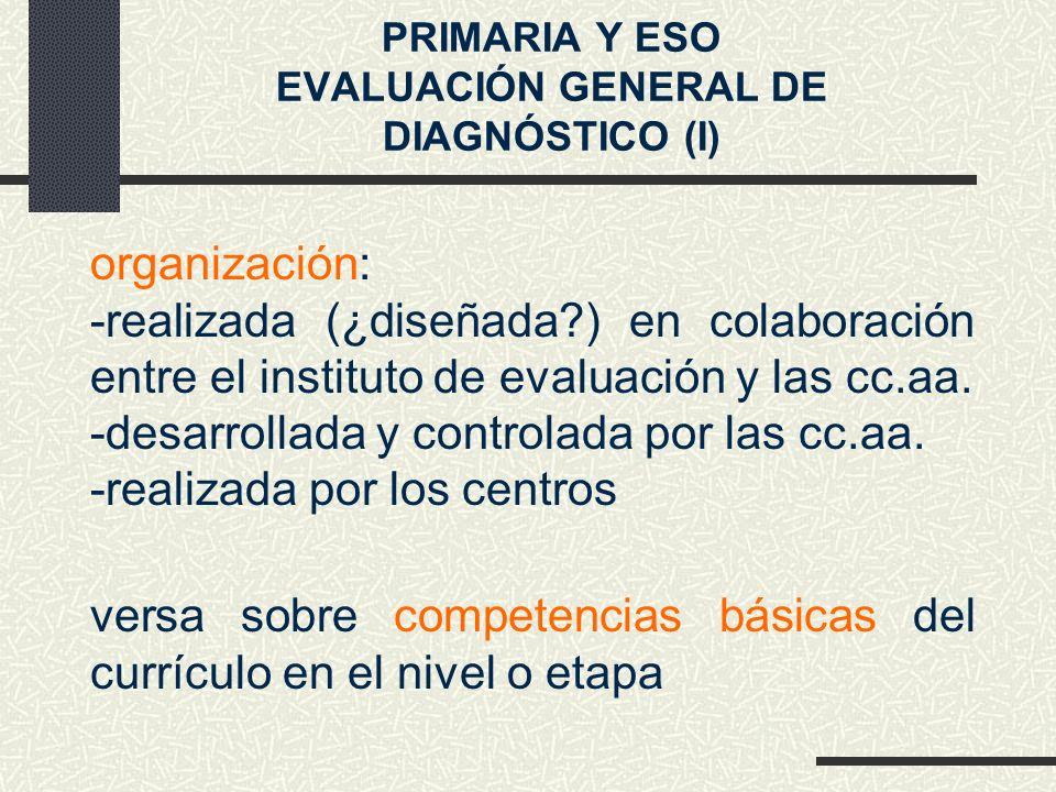 versa sobre competencias básicas del currículo en el nivel o etapa organización: -realizada (¿diseñada?) en colaboración entre el instituto de evaluación y las cc.aa.