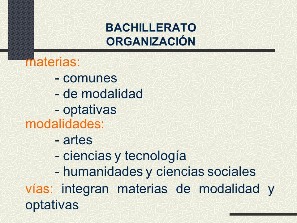 materias: - comunes - de modalidad - optativas modalidades: - artes - ciencias y tecnología - humanidades y ciencias sociales BACHILLERATO ORGANIZACIÓN vías: integran materias de modalidad y optativas