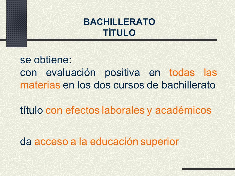 título con efectos laborales y académicos da acceso a la educación superior se obtiene: con evaluación positiva en todas las materias en los dos cursos de bachillerato BACHILLERATO TÍTULO