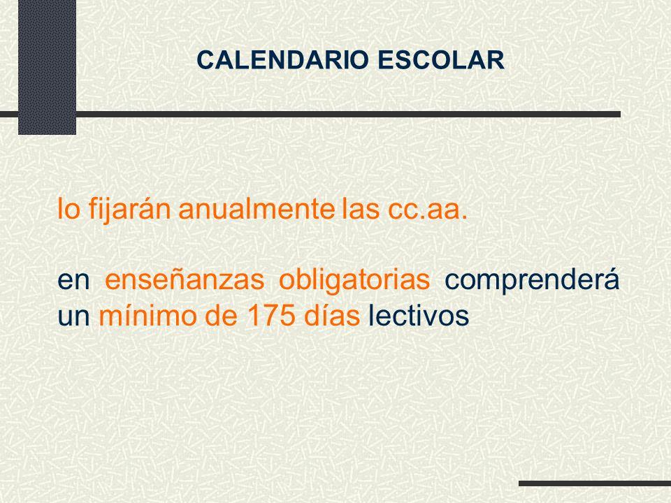 en enseñanzas obligatorias comprenderá un mínimo de 175 días lectivos CALENDARIO ESCOLAR lo fijarán anualmente las cc.aa.