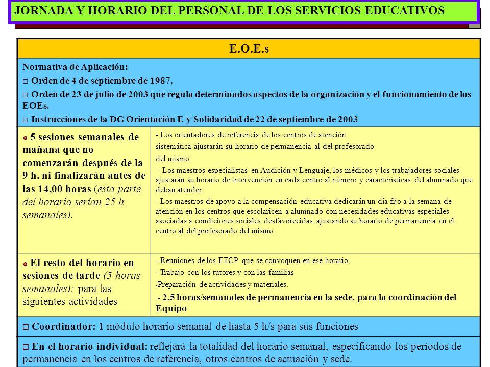 16 JORNADA Y HORARIO DEL PERSONAL DE LOS SERVICIOS EDUCATIVOS E.O.E.s Normativa de Aplicación: Orden de 4 de septiembre de 1987. Orden de 23 de julio