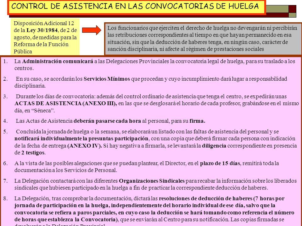 29 CONTROL DE ASISTENCIA EN LAS CONVOCATORIAS DE HUELGA Disposición Adicional 12 de la Ley 30/1984, de 2 de agosto, de medidas para la Reforma de la F