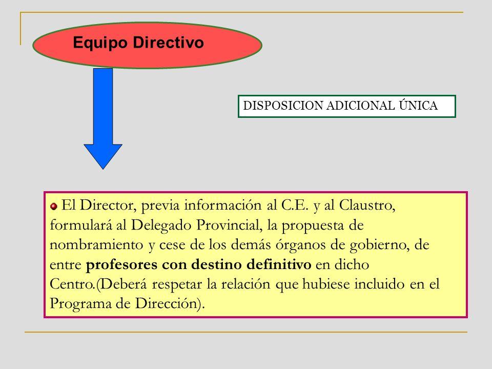 Equipo Directivo El Director, previa información al C.E.