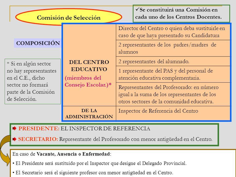 Comisión de Selección Se constituirá una Comisión en cada uno de los Centros Docentes.