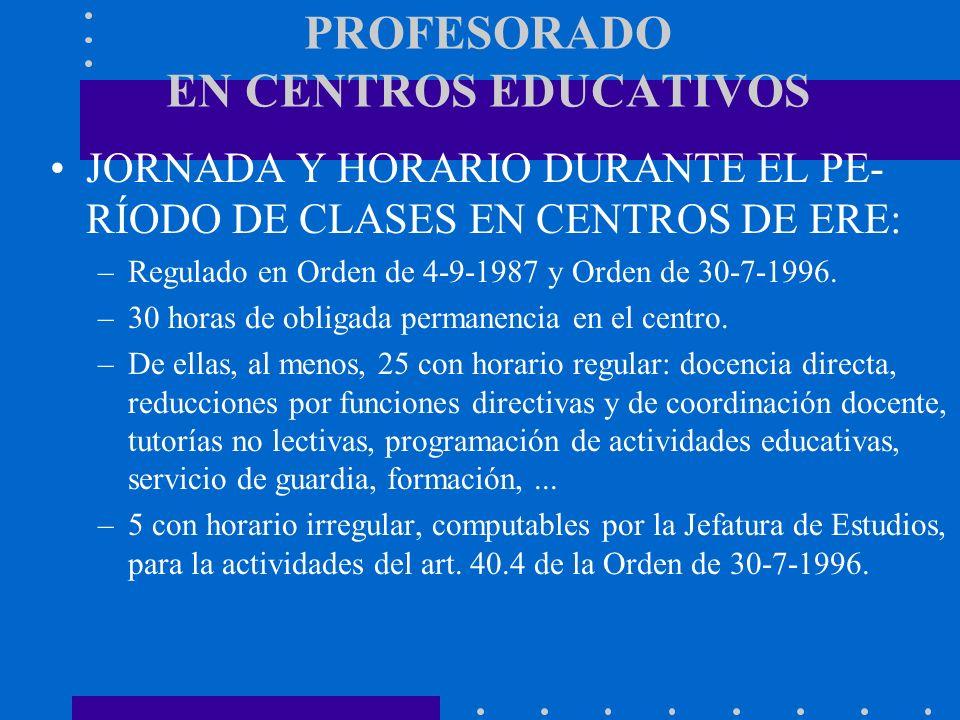 PROFESORADO EN CENTROS EDUCATIVOS JORNADA Y HORARIO DURANTE EL PE- RÍODO DE CLASES EN CENTROS DE ERE: –Regulado en Orden de 4-9-1987 y Orden de 30-7-1
