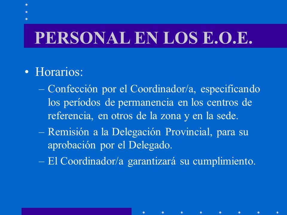PERSONAL EN LOS E.O.E. Horarios: –Confección por el Coordinador/a, especificando los períodos de permanencia en los centros de referencia, en otros de