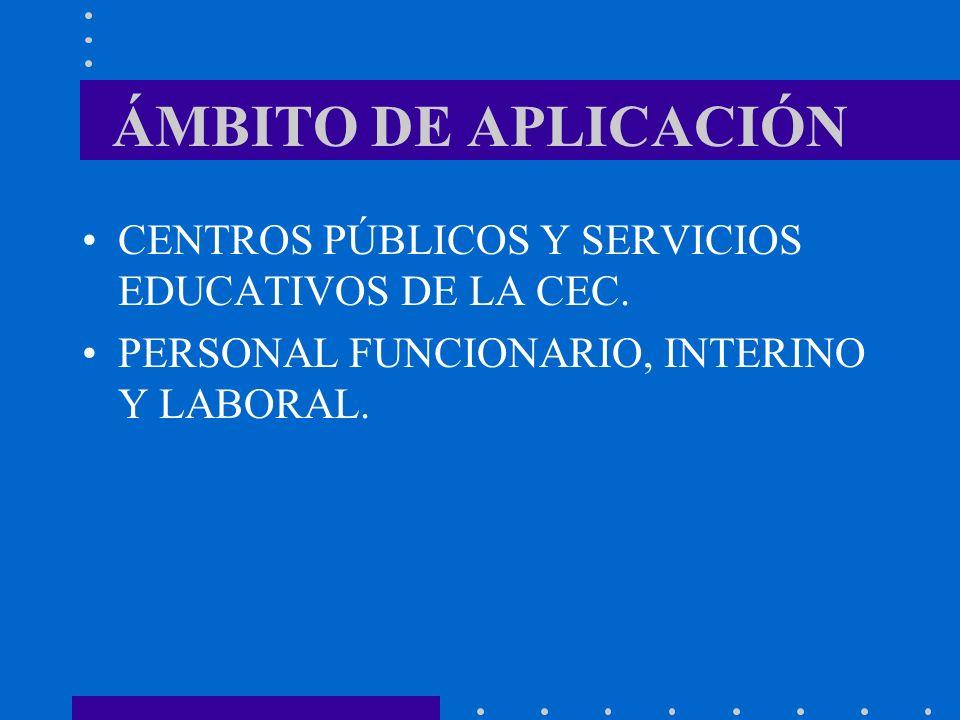 ÁMBITO DE APLICACIÓN CENTROS PÚBLICOS Y SERVICIOS EDUCATIVOS DE LA CEC. PERSONAL FUNCIONARIO, INTERINO Y LABORAL.