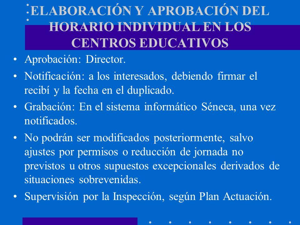 ELABORACIÓN Y APROBACIÓN DEL HORARIO INDIVIDUAL EN LOS CENTROS EDUCATIVOS Aprobación: Director. Notificación: a los interesados, debiendo firmar el re