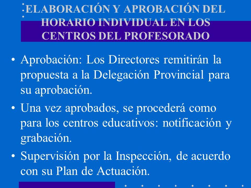 ELABORACIÓN Y APROBACIÓN DEL HORARIO INDIVIDUAL EN LOS CENTROS DEL PROFESORADO Aprobación: Los Directores remitirán la propuesta a la Delegación Provi