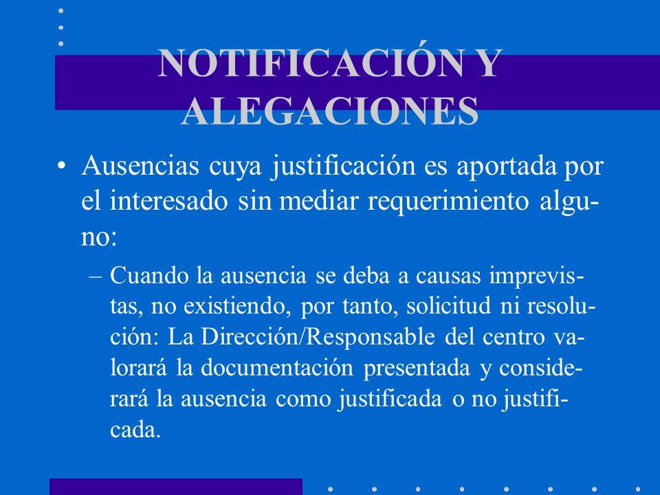 NOTIFICACIÓN Y ALEGACIONES Ausencias cuya justificación es aportada por el interesado sin mediar requerimiento algu- no: –Cuando la ausencia se deba a