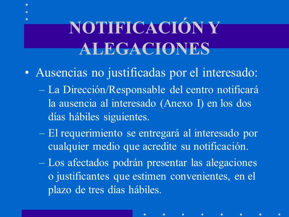 NOTIFICACIÓN Y ALEGACIONES Ausencias no justificadas por el interesado: –La Dirección/Responsable del centro notificará la ausencia al interesado (Ane