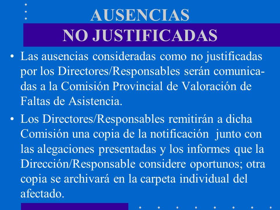 AUSENCIAS NO JUSTIFICADAS Las ausencias consideradas como no justificadas por los Directores/Responsables serán comunica- das a la Comisión Provincial