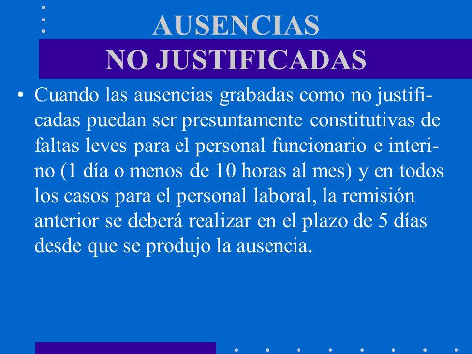 AUSENCIAS NO JUSTIFICADAS Cuando las ausencias grabadas como no justifi- cadas puedan ser presuntamente constitutivas de faltas leves para el personal