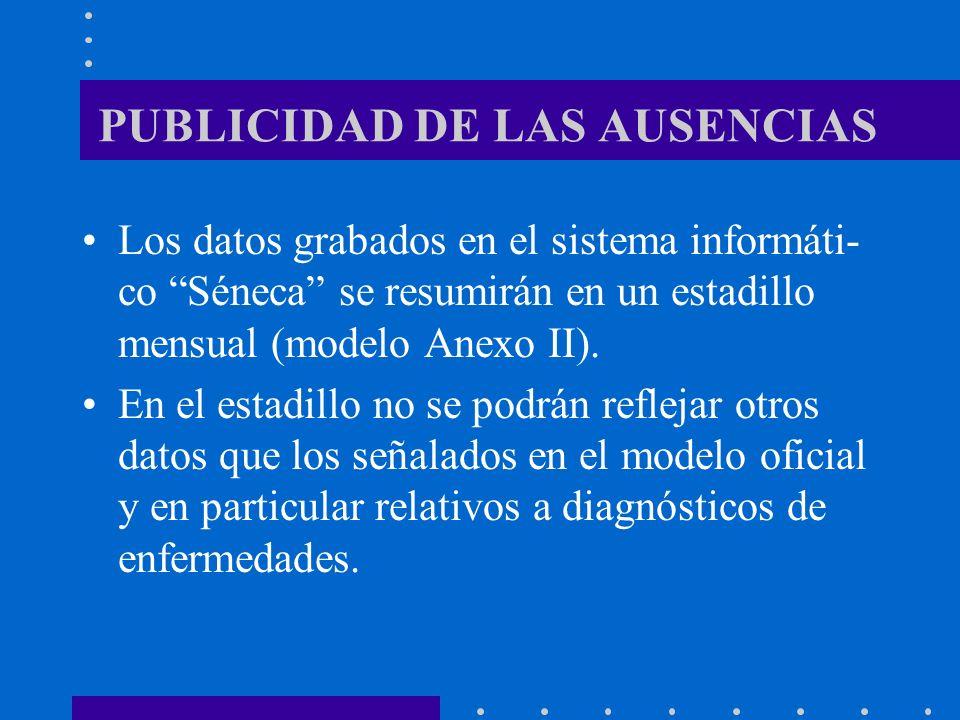 PUBLICIDAD DE LAS AUSENCIAS Los datos grabados en el sistema informáti- co Séneca se resumirán en un estadillo mensual (modelo Anexo II). En el estadi