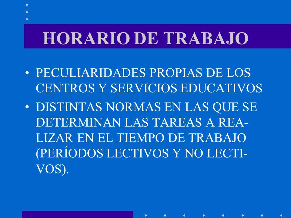 HORARIO DE TRABAJO PECULIARIDADES PROPIAS DE LOS CENTROS Y SERVICIOS EDUCATIVOS DISTINTAS NORMAS EN LAS QUE SE DETERMINAN LAS TAREAS A REA- LIZAR EN E