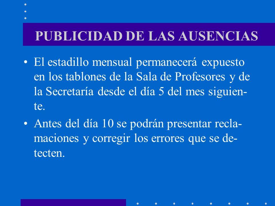 PUBLICIDAD DE LAS AUSENCIAS El estadillo mensual permanecerá expuesto en los tablones de la Sala de Profesores y de la Secretaría desde el día 5 del m