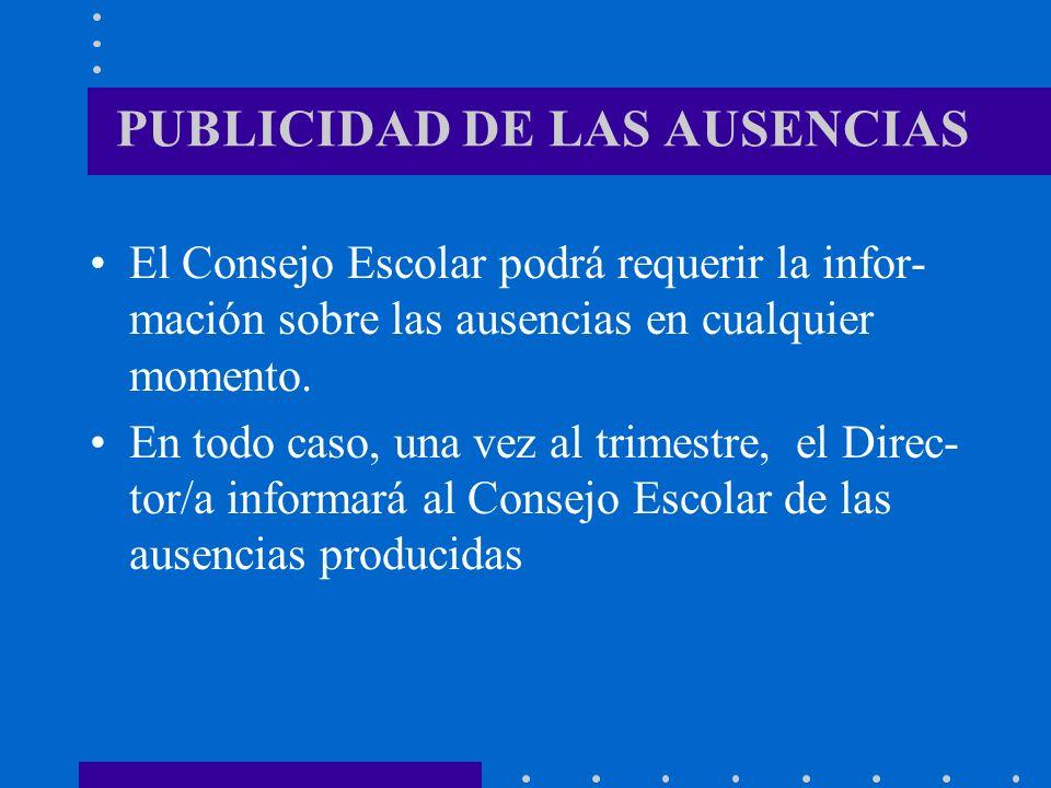 PUBLICIDAD DE LAS AUSENCIAS El Consejo Escolar podrá requerir la infor- mación sobre las ausencias en cualquier momento. En todo caso, una vez al trim