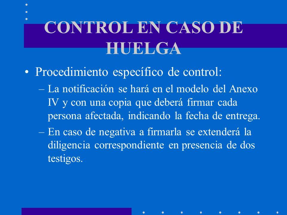 CONTROL EN CASO DE HUELGA Procedimiento específico de control: –La notificación se hará en el modelo del Anexo IV y con una copia que deberá firmar ca