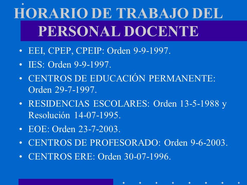 HORARIO DE TRABAJO DEL PERSONAL DOCENTE EEI, CPEP, CPEIP: Orden 9-9-1997. IES: Orden 9-9-1997. CENTROS DE EDUCACIÓN PERMANENTE: Orden 29-7-1997. RESID