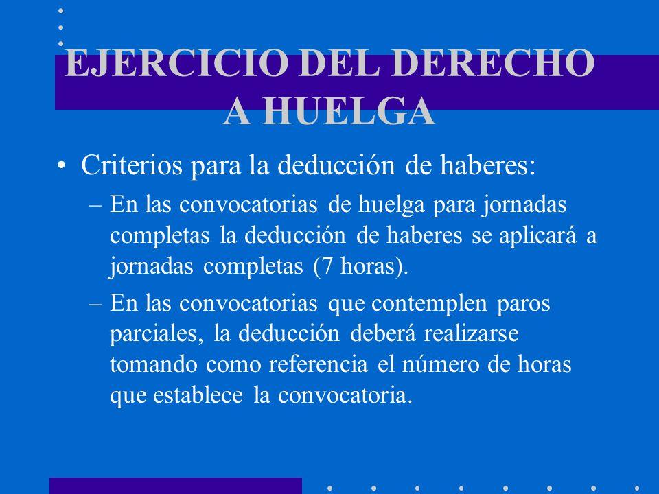 EJERCICIO DEL DERECHO A HUELGA Criterios para la deducción de haberes: –En las convocatorias de huelga para jornadas completas la deducción de haberes