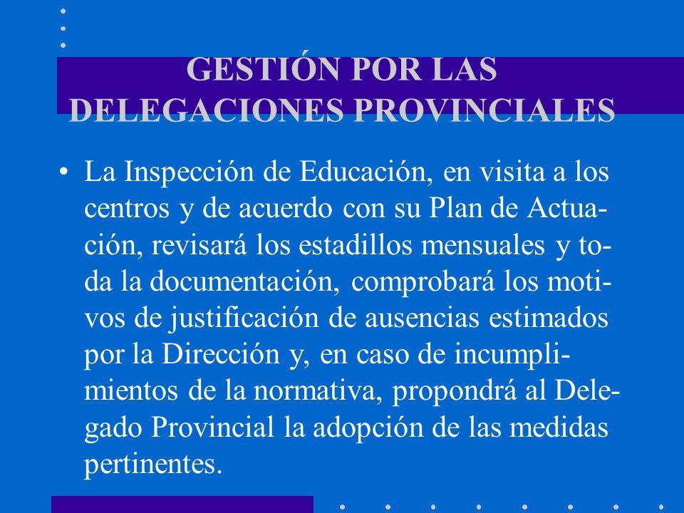 GESTIÓN POR LAS DELEGACIONES PROVINCIALES La Inspección de Educación, en visita a los centros y de acuerdo con su Plan de Actua- ción, revisará los es