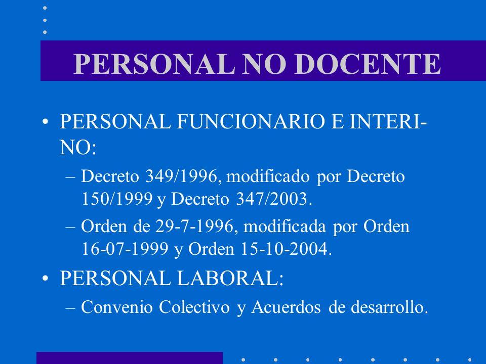 PERSONAL NO DOCENTE PERSONAL FUNCIONARIO E INTERI- NO: –Decreto 349/1996, modificado por Decreto 150/1999 y Decreto 347/2003. –Orden de 29-7-1996, mod