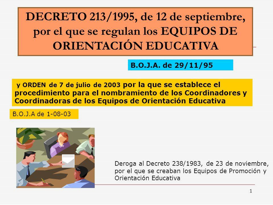 1 DECRETO 213/1995, de 12 de septiembre, por el que se regulan los EQUIPOS DE ORIENTACIÓN EDUCATIVA B.O.J.A. de 29/11/95 Deroga al Decreto 238/1983, d