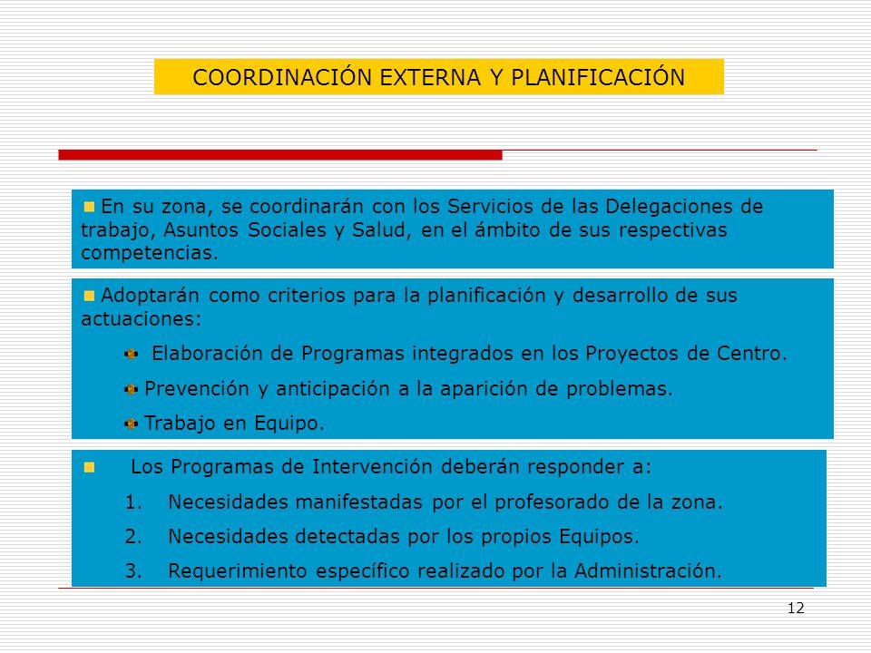 12 COORDINACIÓN EXTERNA Y PLANIFICACIÓN En su zona, se coordinarán con los Servicios de las Delegaciones de trabajo, Asuntos Sociales y Salud, en el á